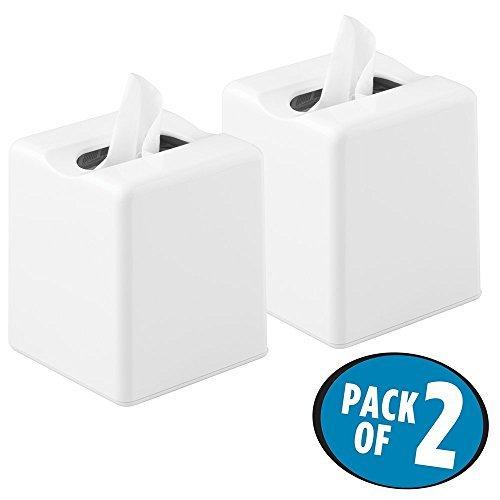 mDesign Juego de 2 fundas para cajas de pañuelos – Dispensador de pañuelos para el baño, la habitación de los niños o la cocina – Bonitas cajas para pañuelos de papel – blanco
