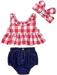 Bambino piccolo Bambino Ragazza Tops + Denim Pantaloncini Abiti, Yanhoo Impostato Estate Plaid costeggiato Maglietta