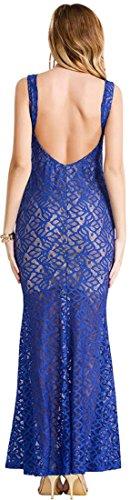 jeansian Damen Sehen durch r¨¹ckenfreie Lace Kleid Maxi Kleider Tops WHS038 Blue