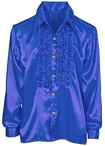 Das Kostümland Satin Rüschenhemd Johnny für Kinder - Blau Gr. 140 (Kostüm Für Schule Spielt)