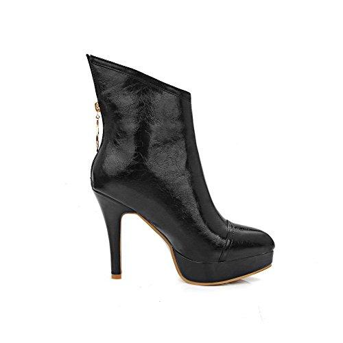 VogueZone009 Damen Blend-Materialien Mitte-Spitze Wasserdicht Plattform Stiletto Stiefel, Weiß, 37