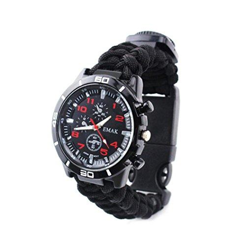 Hunpta Outdoor Survival Uhr Armband Paracord Kompass Feuerstein Feuer Starter Pfeife (Schwarz)