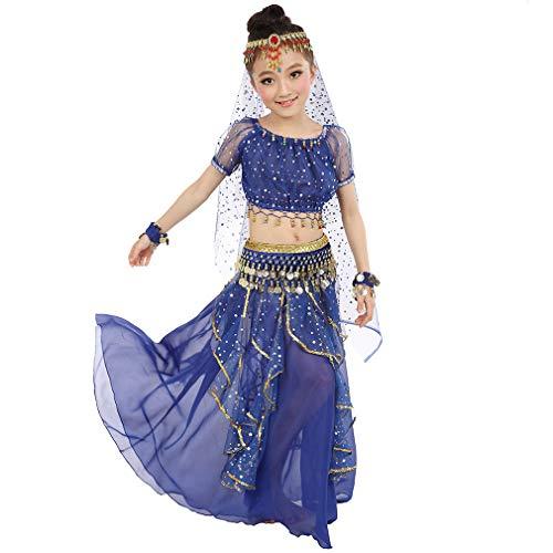 Kostüm Prinzessin Indische Kind - Magogo Mädchen Bauchtanz Kostüm Geburtstagsparty Kostüm, Kinder Cosplay Arabische Prinzessin Dancewear Glänzende Karneval Outfit (S, Dunkelblau)