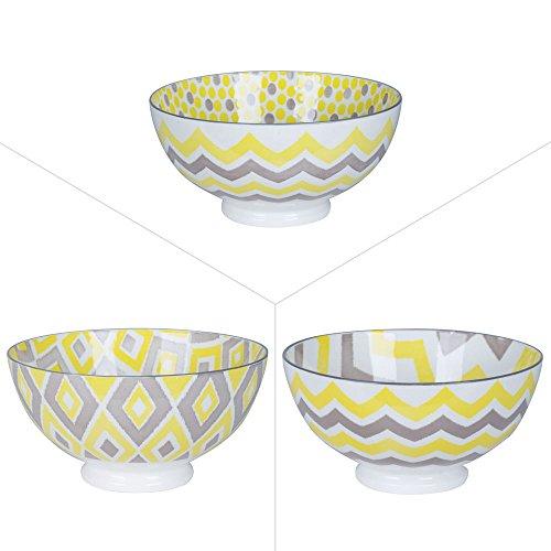 Table Passion - Bol 15cm porcelaine jaune/gris assortis (lot de 3)