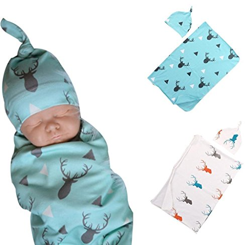 Amcool Neugeborene Baby Deer Swaddle Decke Sleeping Wrap Headwear Set (Blau)