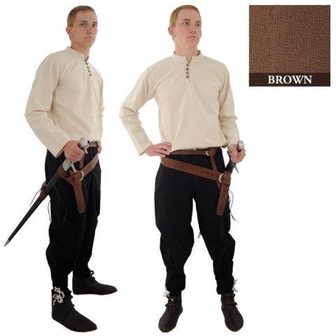 Mittelalterliche Formelle Kleidung - Handgewebtes Mittelalter Baumwollhemd / Größe M