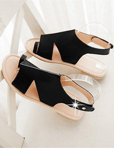 UWSZZ IL Sandali eleganti comfort Scarpe Donna-Sandali-Tempo libero / Formale / Casual-Comoda-Piatto-Finta pelle-Nero / Giallo Black