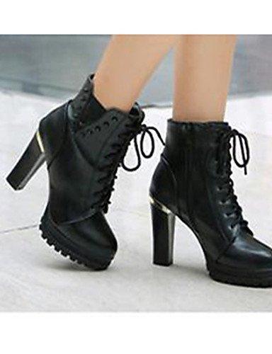 WSS 2016 Chaussures Femme-Décontracté-Noir / Marron-Gros Talon-Talons-Chaussures à Talons-Polyuréthane brown-us6 / eu36 / uk4 / cn36