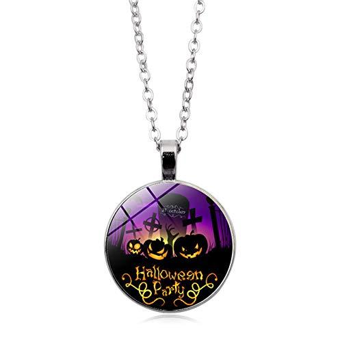Blisfille Halloween Series Time Edelstein Halskette Mode Anhänger Halskette Festival Damen Herren Karnevalsfeier