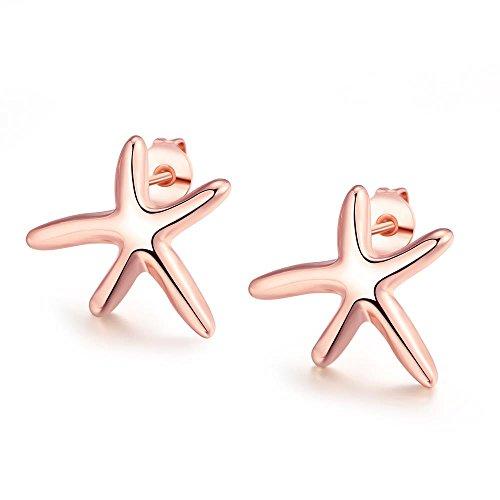 Bodya Frauen Mädchen Geschenk 15mm klein Lovely Cute Sea Star Ohrstecker Ohrringe Sommer Strand Schmuck Rose Vergoldet