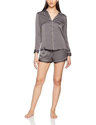 New Look Revere Collar Hammered, Pyjamas Femme Gris foncé