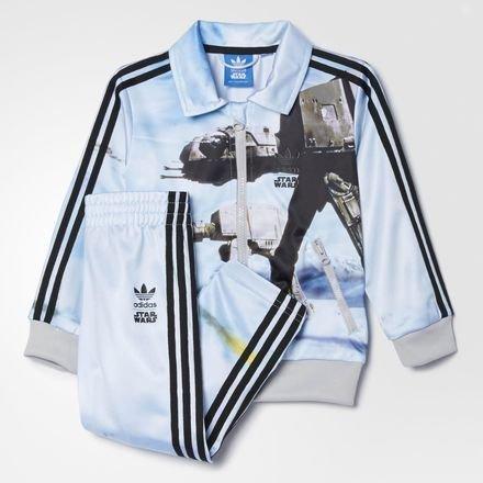 adidas Originals Star Wars Kinder Firebird Set Anzug ATAT Jacke + Hose AB1847, Größe:104, Farbe:Hellblau -
