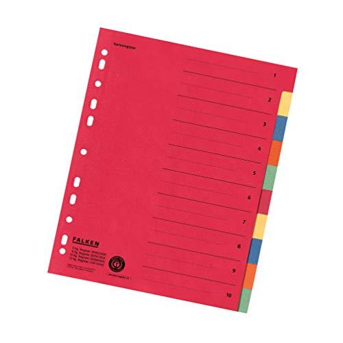 Falken Karton-Register für DIN A4 24 x 29,7 cm volle Höhe mit Organisationsdruck 10-teilig vollfarbig 2 x 5 Farben rot gelb blau orange grün Ringbuch Ordner Ring-mappe Ringbuch Hefter überbreit Blauer Engel für die ideale Ablage von Prospekthüllen