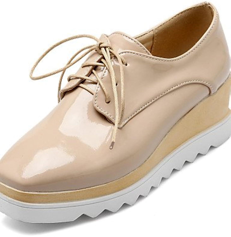NJX/ hug Zapatos de mujer - Tacón Cuña - Cuñas - Tacones - Casual - Semicuero - Negro / Blanco / Almendra , white-us8...
