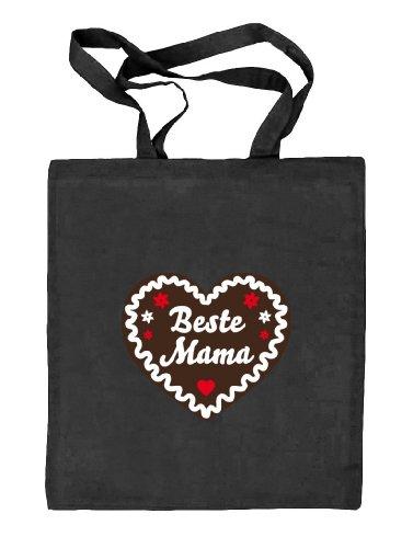 Shirtstreet24, Muttertag - Lebkuchenherz Beste Mama, Natur Stoffbeutel Jute Tasche (ONE SIZE) schwarz natur