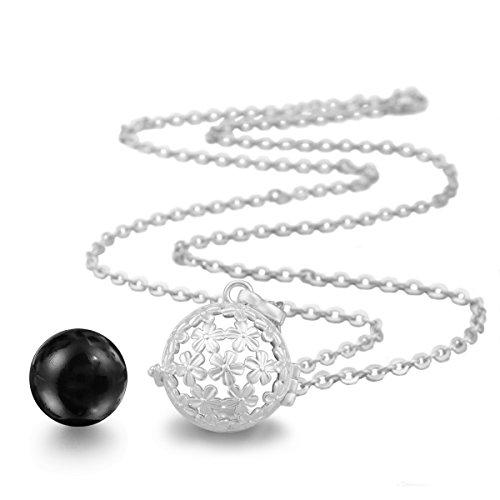 Eudora Boule Bébé Douche cadeau plaqué argent sterling Médaillon Pendentif bébé Grossesse Bola de Bell noir