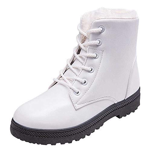 7d3f2941522120 Bottes de Neige,Subfamily Botte Femme Hiver Bottes Cuir Bottines Plates  Fourrées Boots Chaussures Lacets
