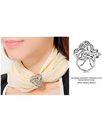 CAREOR élégant Moderne Design Simple pour Femme Triple-Ring Strass  métallique en Soie Foulards Clip Écharpe Bague Boucle en Mousseline… 8d40617fab4