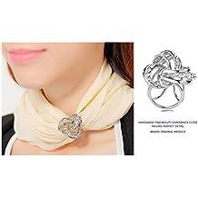 fb8fcf9434cf CAREOR élégant Moderne Design Simple pour Femme Triple-Ring Strass  métallique en Soie Foulards Clip