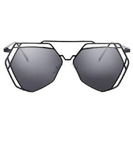 MYLL Europa Und Den Vereinigten Staaten Marken-Damen Mode Sonnenbrillen Breitseitenbeschichtung Trend Polarisations-Brille,Silver-OneSize