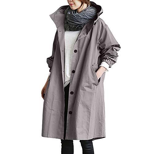 FIRSS Damen Wasserdichter Regenjacke Trenchcoat Lange Regenjacke Bequem Windjacke Elegante Outwear Knopf Mit Taschen Mit Kapuze Mantel Lange Trenchcoat