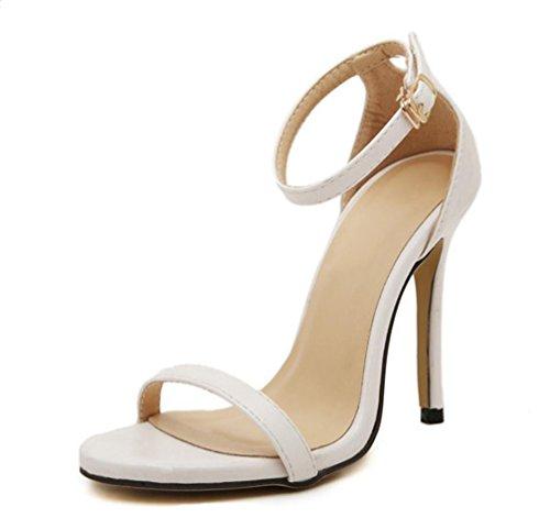 ZCH estate nuovo della dei sandali dellalto tallone della signora modo Europa 42 sandali femminili di grande formato White