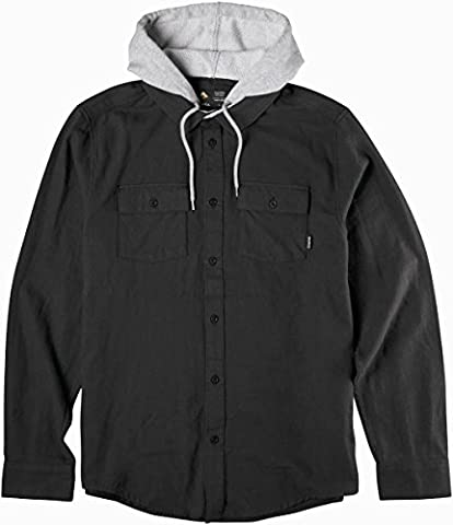 Emerica Cashus Hooded Ls Flannel, Couleur: Black, Taille: L