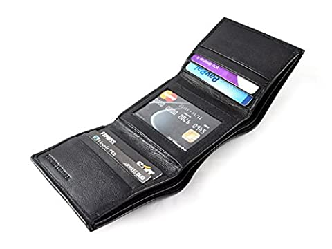 New Black Leather Men's Small Slim Trifold Wallet Credit Card ID Holder