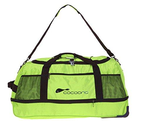 2er SET: COCOONO Trolley Reisetasche TWISTER 80 cm - 136 Liter zusammenlegbar + Packtasche + 3 Kosmetikbeutel / GRÜN