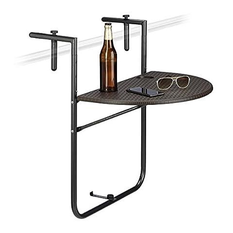 Relaxdays Balkonhängetisch BASTIAN klappbar, 3-fach höhenverstellbarer Klapptisch, Tischplatte B x