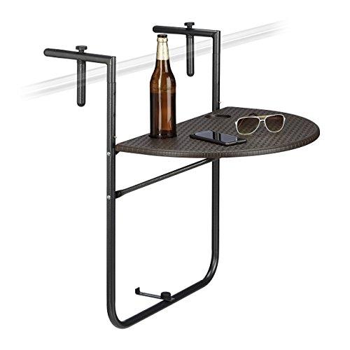 Relaxdays Balkonhängetisch BASTIAN klappbar, 3-fach höhenverstellbarer Klapptisch, Tischplatte B x T: 60 x 40 cm, braun - Klapp-esstisch