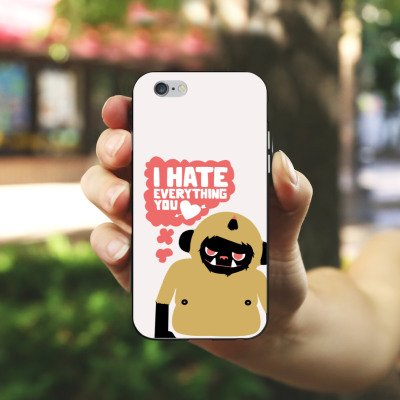 Apple iPhone X Silikon Hülle Case Schutzhülle Monster Sprüche Liebe Silikon Case schwarz / weiß