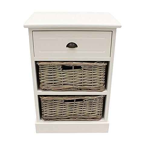 JVL Jasmin matt weiß Holz Schrank mit grau gewaschener Vollweide Körbe, 3Schubladen, Holz, matt weiß, grau (Jasmin Ein Griff)