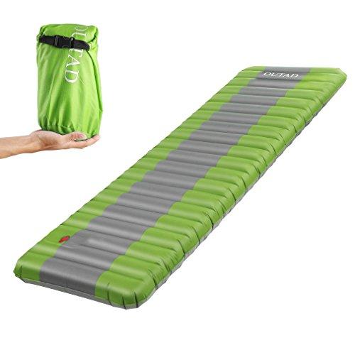 Outad materasso da campeggio gonfiabile materasso ad aria portatile ultra leggero, spessore 12 cm sleeping pad per campeggio, viaggi, outdoor, escursioni, spiaggia – verde