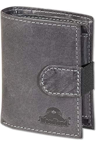 Woodland® - Super-Kompakte Geldbörse mit XXL-Kreditkartentaschen für 18 Karten aus naturbelassenem Büffelleder in Anthrazit, Schwarz