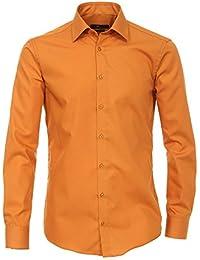 Venti Herren Hemd Kent Baumwolle & Mix Oberhemd Unifarben, Größe: 35, Farbe: Gelb