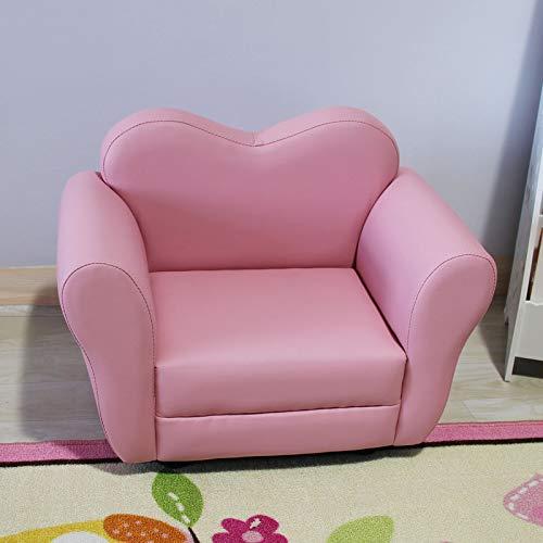 sillón infantil Sofá para niños Historieta linda sola tela asiento Plaid bebé niña niño pequeño sofá asiento jardín de infantes sofá, rosa amor PU