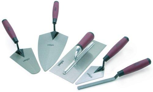 Rolson Tools 52489 - Set di cazzuole con impugnatura morbida, 5 pezzi