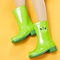 Rain Welliec Boots For Women,Fashion Creative High Tube Waterproof Wear Resistant Green Little Frog Pattern Rain Shoes For Lady Outdoor Travel Grassland Music Festival Clothes Wild