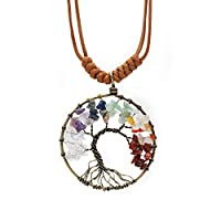 Abbyabbie.Li Necklace Tree of Life Pendant Personalized 7 Chakra Gemstone Crystal Necklace Multicolor Adjustable Stone Chain Jewelry (Copper Round, 5.2 * 5.2cm/2.05 * 2.05in)