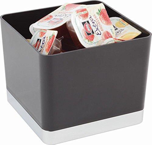 APS poubelle de table / récipients pour couverts 13,5 x 13,5 cm, H: 11 cm ABS, noir