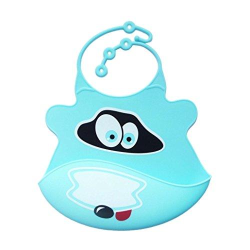 Vovotrade Baberos del bebé Animales infante Silicona suave Impermeable Goteo saliva,menos cables, toallitas fácilmente limpio, suave y cómodo, mantiene su forma Con Easy Rolls arriba (Cielo Azul)