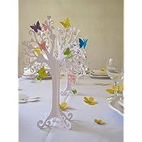 Taufe |Herzbaum| Tischdeko| mit bunten schmetterlingen | höhe 23cm weiß 1stk mit 10 Schmetterlingen zum selbst ankleben