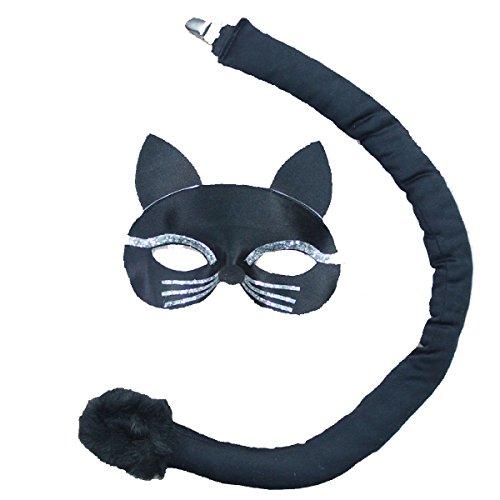 Cat Black Kind Kostüme (GEXING Halloween-Kostüm Für Erwachsene Cosplay-Show Kleidung Kinder Black Cat Sheriff Kitten Maske)