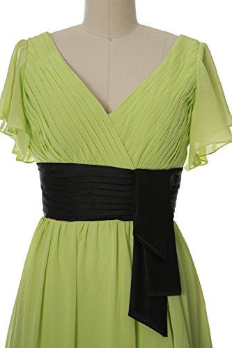 MACloth Elegant Short Sleeve Mother of Bride Dress V Neck Cocktail Formal Gown Regency