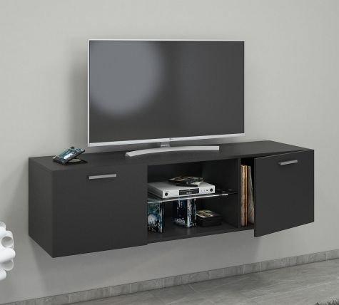 VCM Jusa 140 Meuble TV Bois, Noir, 40 x 140 x 36 cm
