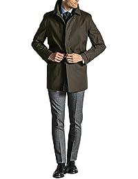 Cappotto Trench Uomo Impermeabile Blu Fango Coat Invernale Elegante Imbottito Lungo Interno Trapuntato Sartoriale Slim Fit Cappotto Spolverino Giaccone Classico