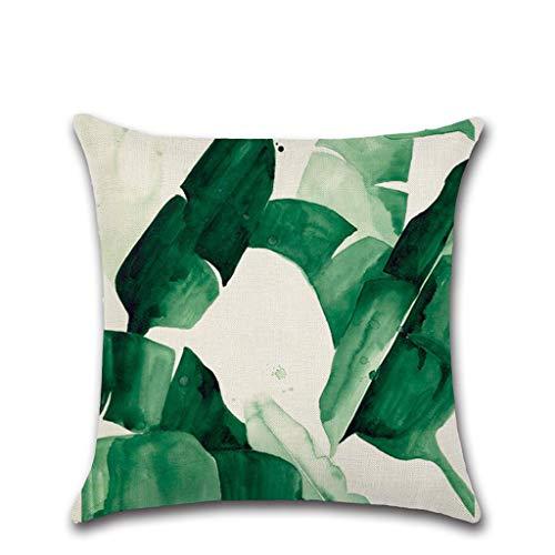 Kissenbezug Leinen Green Leaf Print Dekorative Platz Kissenbezug Gemütliche Dekokissen Cases für Zuhause Sofa Schlafzimmer Büro Auto 18 X 18 Zoll 45 X 45 cm (C) - Pad Zeichnung Dekorative