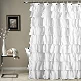 Shower Curtain Bathroom Solid Home White Supplies Bath Decor with Hooks