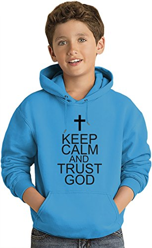 Keep Calm And Trust God Slogan Lightweight Hoodie For Kids | 80% Cotton-20%Polyester| DTG Printing| Unique & Custom Jumpers, Sweatshirts, Sweaters & Kids Clothing By Wicked Wicked